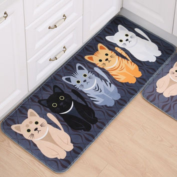 Cartoon Kitten Pattern Bathroom Mats Soft Non-slip Floor Carpet Bedroom Balcony Rugs