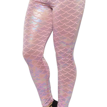 Shiny Pink Mermaid Leggings Design 473