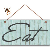 "EAT Sign, Vintage Faux Wood Slat Style, Kitchen Sign, Farmhouse Decor, Cafe Sign, Retro Blue Dining Sign, 5"" x 10"" Sign, Made To Order"
