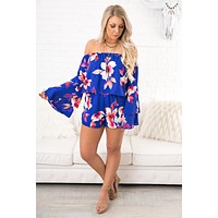 Pretty Pleased Floral Romper (Royal)