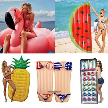 DCCKL72 6 Style Inflatable Pool Float Giant Swan Watermelon Floats Pineapple Flamingo Swimming Ring Child&Adult Water Toy boia piscina