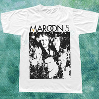 Maroon 5 TShirts Rock Pop Band Popular Shirt White Tee Shirts Unisex Tee Shirts Women Tee Shirts Men Tee Shirts