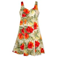tangerine hawaiian molokini dress