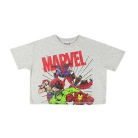 Marvel The Avengers Comic Spiderman Hulk In Vintage Style Graphic Crop Top, Grey