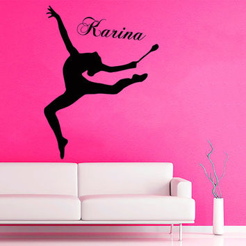 Sport Wall Decals Girl Gymnast Personalized Name Gym Interior Design Vinyl Decal Sticker Home Art Mural Kids Nursery Baby Room Decor KG713