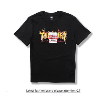 Thrasher Supreme ASSC Vlone Pablo Off White Short Sleeve Vintage Cotton Casual T-shirts [429901676580]