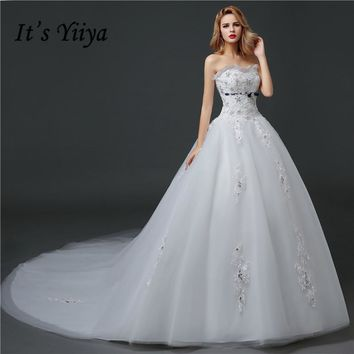 Luxury Strapless Sequins Train Quality Tulle Wedding Dresses 2017 Custom Made White Trailing Bride Gowns Vestidos De Novia HS609