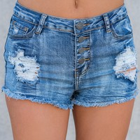 Brynn Distressed Shorts (Medium Wash)