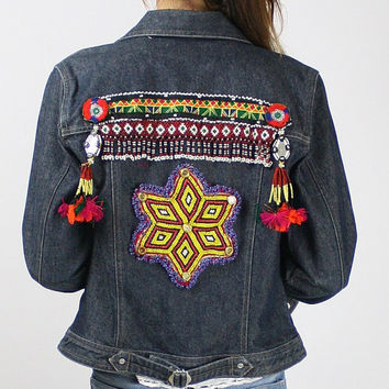Gypsy jacket, Tribal jacket Kuchi nomad Beaded Patchwork Denim jacket Indie Jean jacket Festival Boho Tribal trims Tassels Star Small Medium