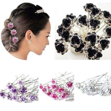 5Pcs Hairpins Shiny Rhinestone Rose Flower Hair Clips Barrette Salon Chic Engagement Wedding Hair Accessories for Women Girls