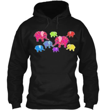 Colorful Baby Elephants T-Shirt for boys and girls Pullover Hoodie 8 oz