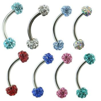ac PEAPO2Q Stainless Steel Curved Barbell AA Crystal Eyebrow Ring Shamballa Disco Crystal Eyebrow Piercing Jewelry