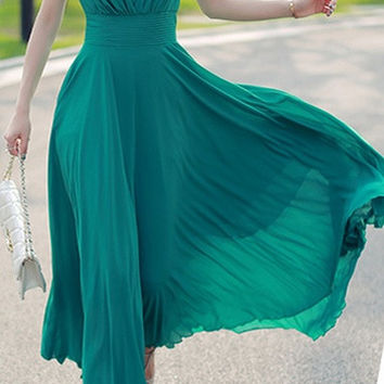 Sexy Women Summer Boho Long Maxi Evening Party Dress Beach Dresses Chiffon Dress = 1956685636