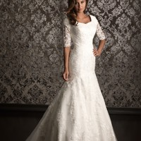 Allure Bridals M490 3/4 Sleeve Lace Dress