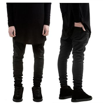 New Fashion Mens Black Skinny Jeans Pants Hi-Street Hip Hop swag men Denim Joggers pants Famous Brand Designer Men Trousers