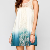 Blu Pepper Dip Dye Tunic Dress Cream  In Sizes