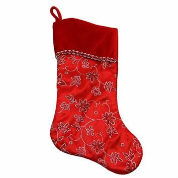 Glittered Floral Christmas Stocking with Shadow Velveteen Cuff