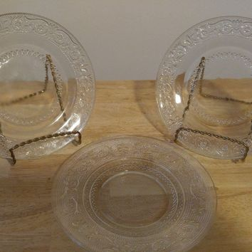 "Clear Depression Glass 7"" Tiara plates (set of 3)"