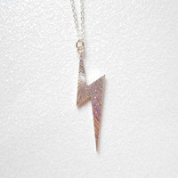 Silver Lightning Bolt Necklace - Thunderstorm Necklaces - Harry Potter Scar Jewelry - Thunder Charm Jewellery