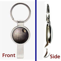 Star Wars Death Star Pennant or Keychain silver tone secret bottle opener
