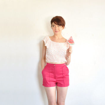 fuchsia pink Catalina shorts . high waist summer beach boardwalk wear .extra small.xs