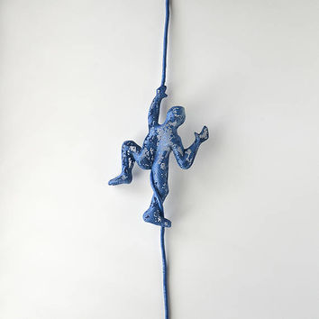 Miniature metal sculpture, Climbing man on the rope, sport wall decor, wall hanging, rock climbing, Metal wall art