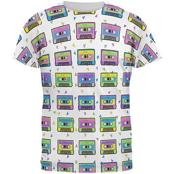 Retro Cassette Tape Pattern All Over Mens T Shirt