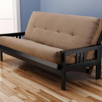 Woodbury Full Size Futon Sofa With Suede Innerspring Mattress, Black Painted Hardwood Frame, Peat