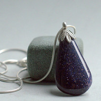 Blue Gold stone medium size pear shape pendant with solid silver bail and necklace