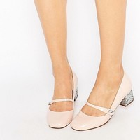 Miss KG Nylah Nude Patent Glitter Mid Heel Shoes at asos.com