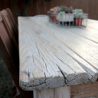 Rustic Reclaimed Wood Farmhouse Dining Table or Desk // Douglas Fir Scaffold Top // Milk Wash White Legs