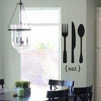 Kitchen Vinyl Wall Decal- EAT Fork Knife Spoon- Vinyl Lettering Decor Words for your wall  Quotes for the wall