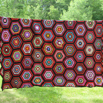"Vintage crochet blanket afghan throw with colorful hexagons 80"" x 60"""