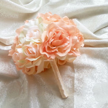 Silk and satin flowers wedding BOUQUET peach cream Flowers ROSES, satin Handle,  Bridesmaids, custom
