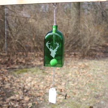 Stag Wind Chime, Deer Wind Chime, Upcycled Jagermeister Bottle Wind Chime, Sand Etched Buck