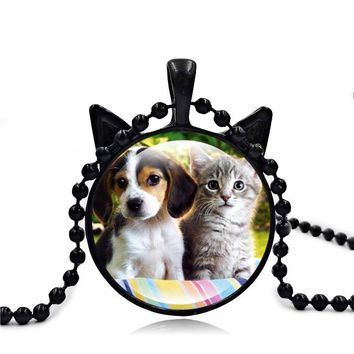 2017 Newest Cute Cats Dog Pendant Necklace Cat Face Jewelry Accessories Art Glass Cabochon Bead Chain Necklace Women Lovers Gift
