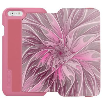 Fractal Pink Flower Dream, Floral Fantasy Pattern iPhone 6/6s Wallet Case