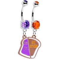 Peanut Butter and Jelly Best Friends Belly Ring Set