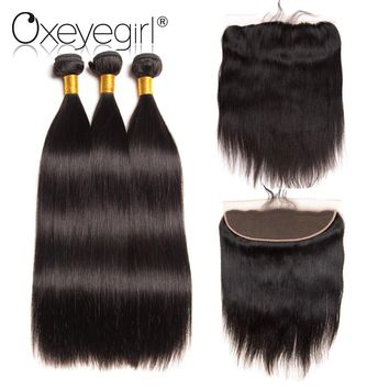 "4""x13"" Lace Frontal Closure With Bundles Peruvian Straight Hair Human Hair 3 Bundles With Closure Nonremy 4pcs/bag Oxeye girl 1"