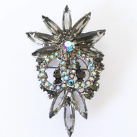DeLizza & Elster Smoke and Aurora Borealis Rhinestone Statement Piece Brooch, Vintage 1950s Classic Juliana Designed Jewelry