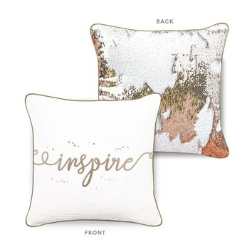 INSPIRE Mermaid Pillow w/ Champagne & White Sequins