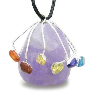 Brazilian Healing Crystal Charm Large Tumbled Amethyst with Multi Gemstones Pendant Necklace