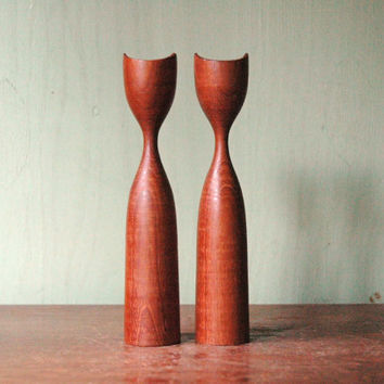 Danish Modern Turned Teak Candle Holder Pair - Mid Century Modern Wooden Candle Holders