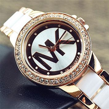 MK Ladies Watch White Gold Edge Diamond Watch B