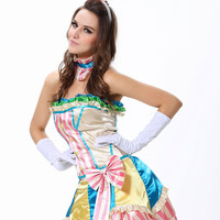 Multi Color Strapless Ruffled Clown Costume