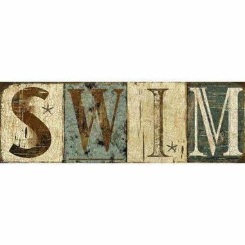 Weathered Swim Sign