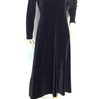 Velvet Maxi Dress Black Long Dress Hippie Boho Goth Witchy Minimalist s small m med medium