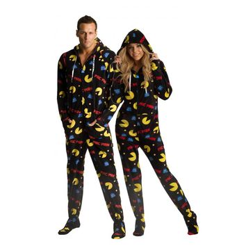 64ffabdb6c Pac Man adult Footed Pajamas from JumpinJammerz