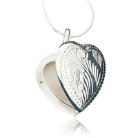 925 Sterling Silver Engraved Heart Love Locket Pendant Necklace, 18 inch Snake Chain