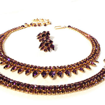 Extraordinary Early Purple Rhinestone Parure